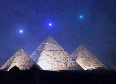 Pyramids at night.