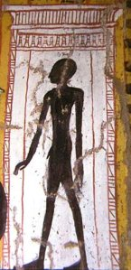 Picture of the Sheut as depicted by the Egyptians as a silhouette figure.